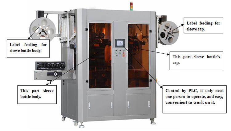 Máquina automática de etiquetado de manga retráctil de etiquetas de PVC de calor de doble cabezal