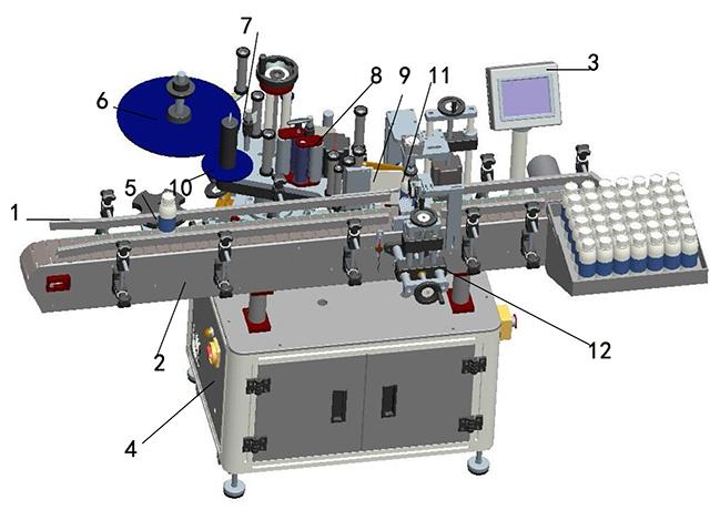 Ilustración de detalles de la máquina de etiquetado